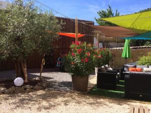 Le jardin avec le  coin salon extérieur et l'olivier typiquement vanséen pour profiter de la douceur ardéchoise